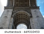 view under the arc de triomphe | Shutterstock . vector #669310453