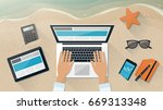 businessman working during... | Shutterstock .eps vector #669313348