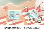 woman relaxing on the beach and ... | Shutterstock .eps vector #669313360