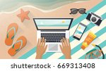 man relaxing on the beach and... | Shutterstock .eps vector #669313408