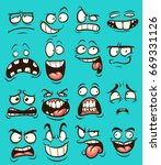 funny cartoon faces with... | Shutterstock .eps vector #669331126
