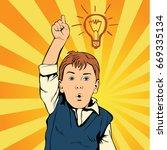 children idea with draft lamp.... | Shutterstock .eps vector #669335134