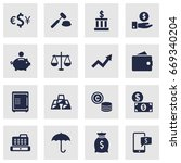 set of 16 finance icons set... | Shutterstock .eps vector #669340204