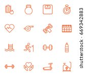 set of 16 bodybuilding outline... | Shutterstock .eps vector #669342883