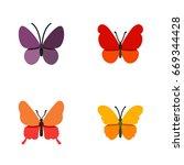 flat icon monarch set of danaus ... | Shutterstock .eps vector #669344428