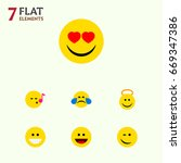 flat icon emoji set of winking  ... | Shutterstock .eps vector #669347386