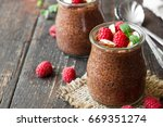 chocolate pudding with chia... | Shutterstock . vector #669351274