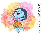 very happy little krishna is... | Shutterstock .eps vector #669352450