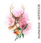 beautiful hand drawn watercolor ... | Shutterstock . vector #669353128