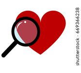 red heart and magnifying glass... | Shutterstock .eps vector #669366238