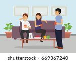 three business colleagues... | Shutterstock .eps vector #669367240