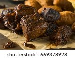 Small photo of Slow Smoked Brisket Burnt Ends Barbecue with Sides