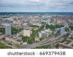 dusseldorf from above  ... | Shutterstock . vector #669379438