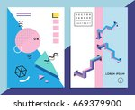 set of trendy hipster posters... | Shutterstock .eps vector #669379900