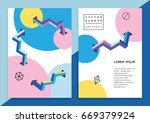 set of trendy hipster posters... | Shutterstock .eps vector #669379924