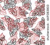 roses stereo effect  3d texture ... | Shutterstock .eps vector #669383803