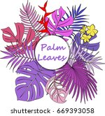 colored palm leaves. | Shutterstock .eps vector #669393058