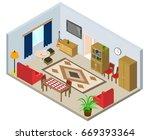 isometric interior of the room. ...