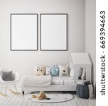 mock up poster frame in... | Shutterstock . vector #669394663