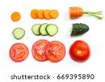 sliced tomatoes  sliced carrot  ... | Shutterstock . vector #669395890