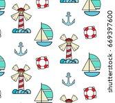 vacation sea vector pattern... | Shutterstock .eps vector #669397600