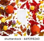 frame of red oak leaves  yellow ... | Shutterstock . vector #669398260