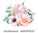 watercolor illustration ... | Shutterstock . vector #669399010