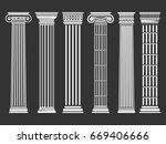roman and greek columns set.... | Shutterstock .eps vector #669406666