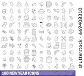 100 new year icons set in... | Shutterstock .eps vector #669408310