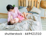 happy loving family. mother and ... | Shutterstock . vector #669421510