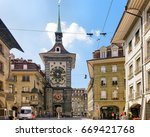 Small photo of Bern, Switzerland - August 31, 2016: Tourists at Kramgasse street with Zytglogge clock tower in Bern, Bern-Mittelland district, Switzerland
