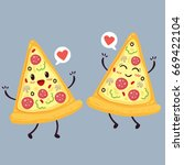 cute pizza slice. cartoon... | Shutterstock .eps vector #669422104