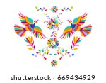 vector folk mexican otomi style ... | Shutterstock .eps vector #669434929