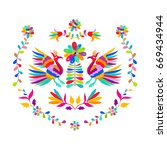 vector folk mexican otomi style ... | Shutterstock .eps vector #669434944