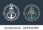 marine round retro emblem in... | Shutterstock .eps vector #669436384