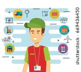 shipping logistics design | Shutterstock .eps vector #669436450