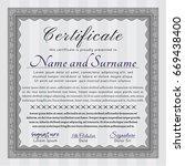 grey certificate diploma or... | Shutterstock .eps vector #669438400