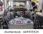 Small photo of Nadarzyn, Poland, May 13, 2017 Warsaw Oldtimer Show: Mercedes Benz W189 Adenauer 300D 1960 glossy and shiny old classic retro oldtimer car