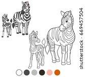 color me  zebra. mother zebra... | Shutterstock .eps vector #669457504