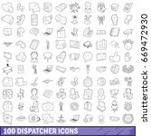 100 dispatcher icons set in... | Shutterstock .eps vector #669472930