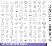 100 dispatcher icons set in... | Shutterstock .eps vector #669472930