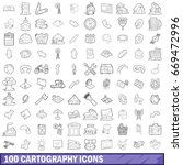 100 cartography icons set in... | Shutterstock .eps vector #669472996