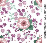 flowery bright pattern in small ... | Shutterstock . vector #669484930