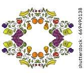 beautiful frame of fruits.... | Shutterstock .eps vector #669490138