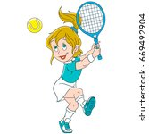 Cartoon Girl Playing Tennis....