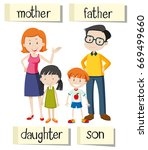 wordcard for family members... | Shutterstock .eps vector #669499660