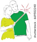 a married couple makes selfie a ...   Shutterstock .eps vector #669502240