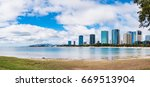Small photo of Panorama view of Ala Moana Beach including the hotels and buildings in Ala Moana, Honolulu, Oahu island, Hawaii, USA