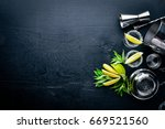 tequila with lime and ice  on a ... | Shutterstock . vector #669521560