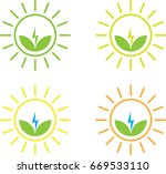 clean energy icon set   green... | Shutterstock .eps vector #669533110